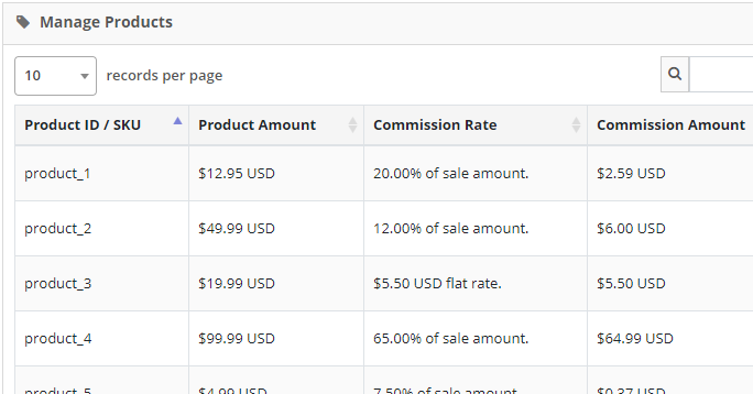 define affiliate commissions for each product in my store